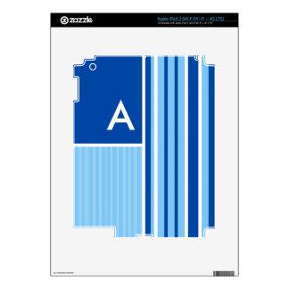 Blue & White Stripes; Striped Skin For iPad 3