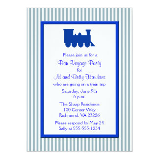 Blue White Stripes Train Bon Voyage Party Card