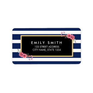 Blue White Stripes with Watercolor Floral Address Label