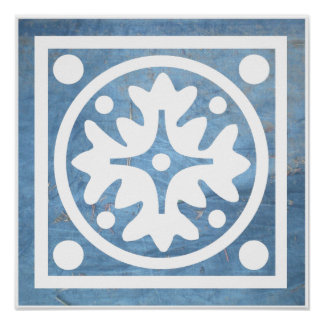 Blue White Stylized Floral Cross Square Poster