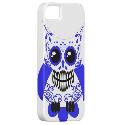 Blue White Sugar Skull Owl Case iPhone 5 Cases