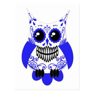 Blue White Sugar Skull Owl Postcard