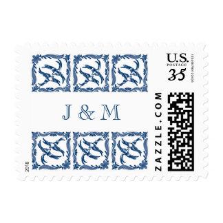 Blue white swallows birds chinoiserie toile delft stamp