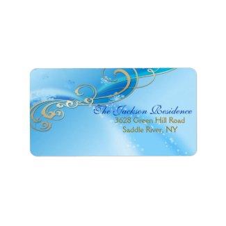 Blue & White Swirl Christmas Address Label label
