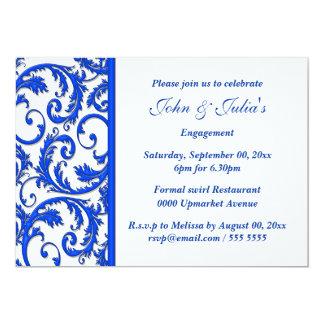 """Blue white swirl engagement anniversary CUSTOM 5"""" X 7"""" Invitation Card"""