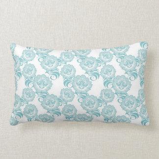 Blue White Swirl Flower Pattern Design Pillows