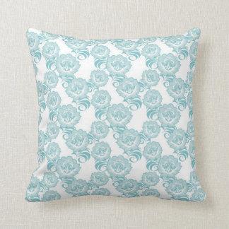Blue White Swirl Flower Pattern Design Pillow