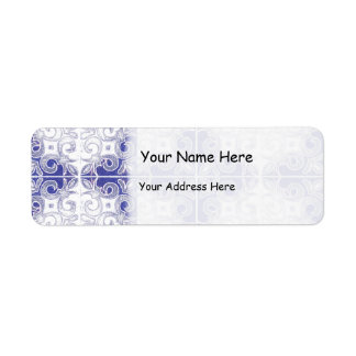 Blue White Swirl Inspired by Portuguese Azulejos Label