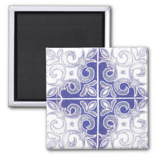 Blue White Swirl Inspired by Portuguese Azulejos Magnet