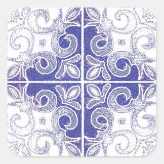 Blue White Swirl Inspired by Portuguese Azulejos Square Sticker
