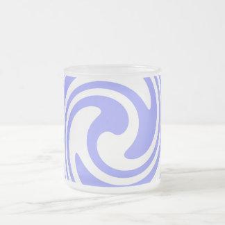 Blue, White Swirls Nautical Inspired Frosted Glass Coffee Mug
