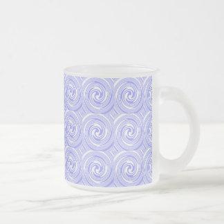 Blue, White Swirls Pattern Frosted Glass Coffee Mug