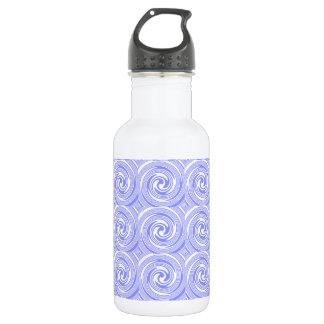 Blue, White Swirls Pattern Stainless Steel Water Bottle