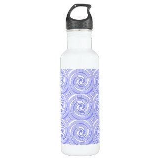 Blue, White Swirls Pattern Water Bottle