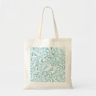 Blue White Tatto Swirl Scroll Pattern Tote Bags