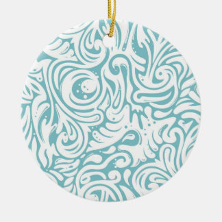 Blue White Tatto Swirl Scroll Pattern Double-Sided Ceramic Round Christmas Ornament