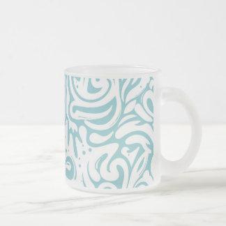 Blue White Tatto Swirl Scroll Pattern Frosted Glass Coffee Mug