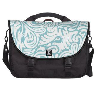 Blue White Tatto Swirl Scroll Pattern Laptop Commuter Bag