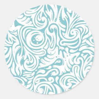 Blue White Tatto Swirl Scroll Pattern Round Stickers