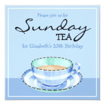 "Blue White Teacup blue Birthday Tea Invitation 5.25"" Square Invitation Card"