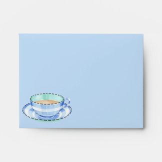Blue White Teacup blue Note Card Envelope