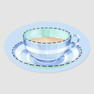Blue White Teacup blue Oval Sticker