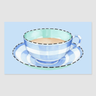 Blue White Teacup blue Rectangle Sticker