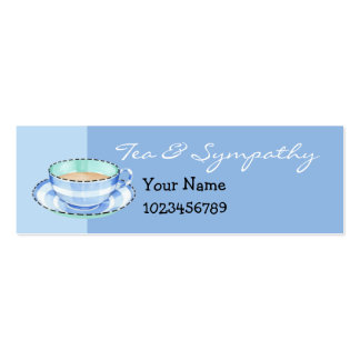Blue White Teacup blue small Business Card