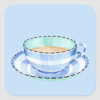 Blue White Teacup blue Square Sticker
