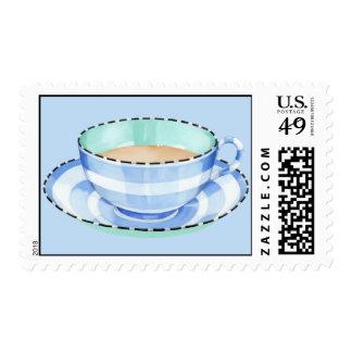 Blue White Teacup blue Stamp