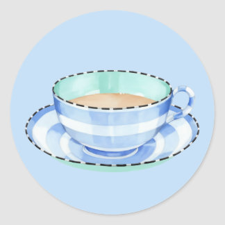 Blue White Teacup blue Sticker