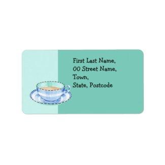 Blue White Teacup green Address Label label