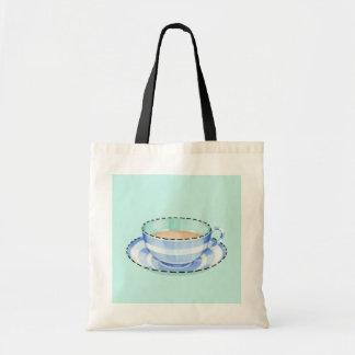 Blue White Teacup green Bag