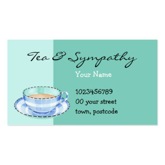 Blue White Teacup green Business Card