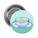 Blue White Teacup green Button