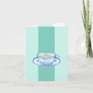 Blue White Teacup green Note Card card