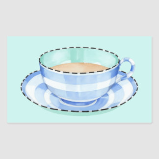 Blue White Teacup green Rectangle Sticker