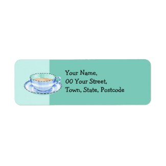 Blue White Teacup green Return Address Label label