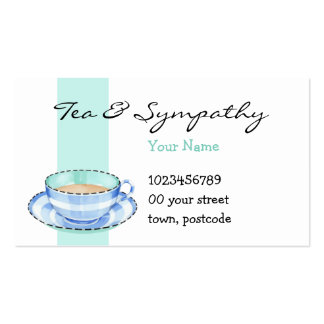 Blue White Teacup white green Business Card
