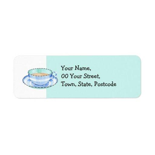 Blue White Teacup white green Return Address Label
