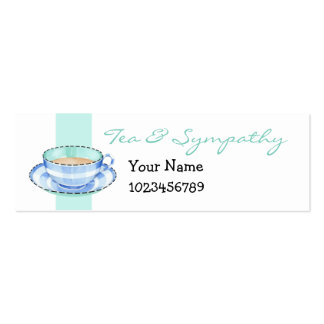 Blue White Teacup white green small Business Card