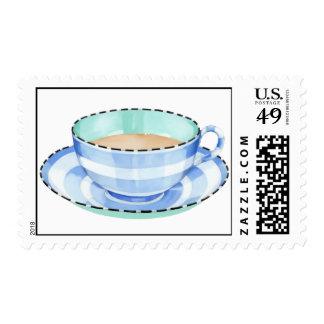 Blue White Teacup white Stamp