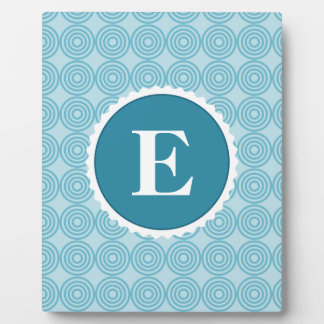 Blue White Teal Monogram Pattern Plaque