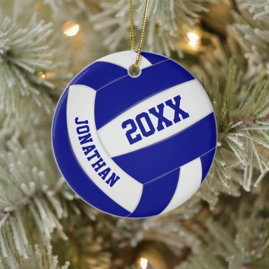 blue white team colors boy girl sports volleyball ceramic ornament
