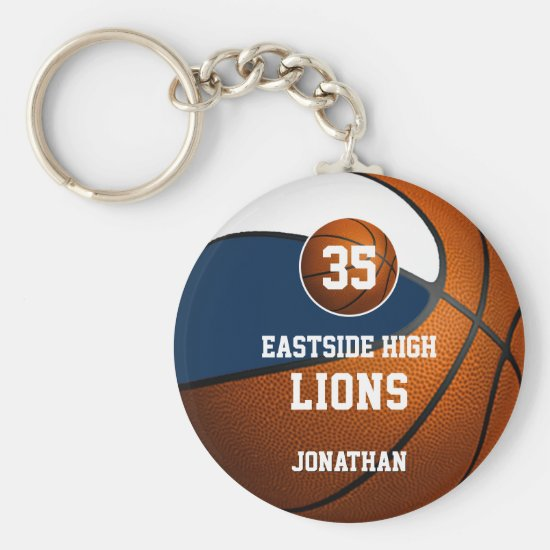Blue white team colors boys' basketball gifts keychain