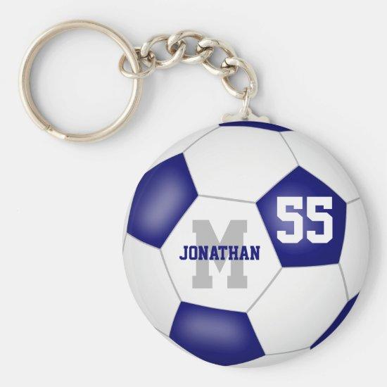 blue white team colors boys girls soccer ball keychain