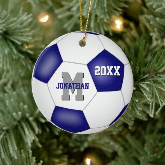 blue white team colors boys girls soccer ceramic ornament