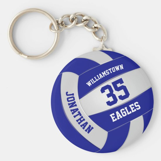 blue white team colors boys girls volleyball keychain