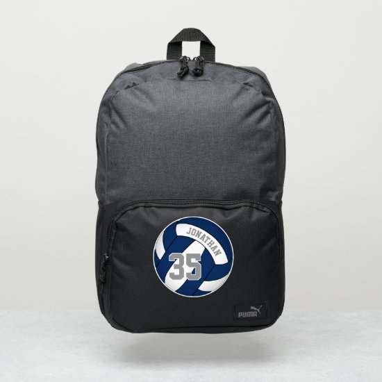blue white team colors boys girls volleyball puma backpack