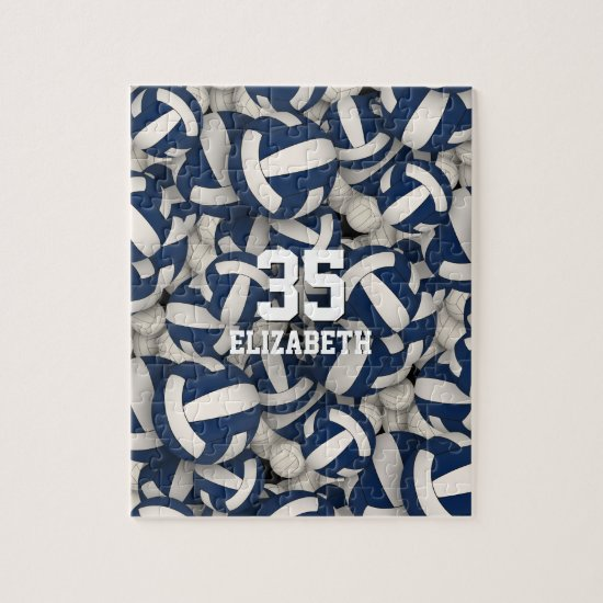 blue white team colors girls boys volleyball jigsaw puzzle